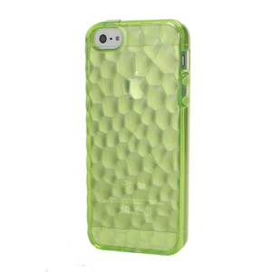 Quality 3D Water Cube Soft TPU Snap-On Back Case for iPhone 5 - Transparent Green