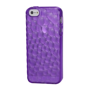 Quality 3D Water Cube Soft TPU Snap-On Back Case for iPhone 5 - Purple