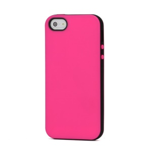 Slim Two-tone Matte Flexible TPU Gel Case Cover for iPhone 5 - Black / Rose