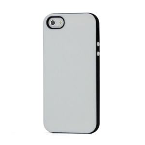 Slim Two-tone Matte Flexible TPU Gel Case Cover for iPhone 5 - Black / White