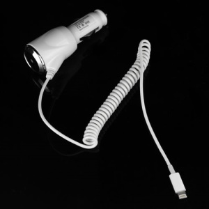 2.1A Flexible Coiled Cable Auto Car Charger for iPad Mini iPhone 5 iPod Touch 5 Nano 7