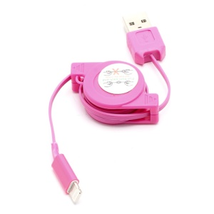 Retractable Charge Sync Data Cable for iPhone 5 / iPod Touch 5 / iPod Nano 7 / iPad Mini / iPad 4 - Rose