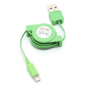 Retractable Charge Sync Data Cable for iPhone 5 / iPod Touch 5 / iPod Nano 7 / iPad Mini / iPad 4 - Green