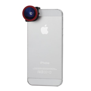 3in1 Fisheye Lens + Wide Angle + Micro Lens Phone Kit Set for iPhone 5 - Black / Red