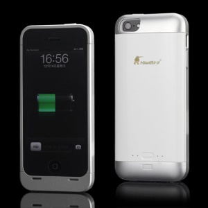 KiwiBird 2000mAh External Backup External Battery Charger Case for iPhone 5 - Silver / White