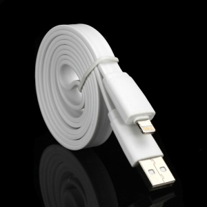Noodle Design Lightning 8 Pin USB Data Charging Cable for iPhone 5 iPod Touch 5 iPad 4 iPad Mini, Length: 1M - White