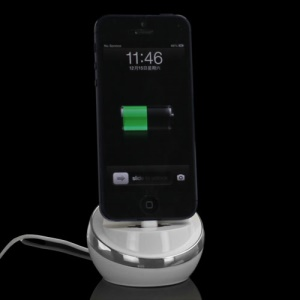 USB Sync Cradle Desktop Dock Charger for iPhone 5 - Silver