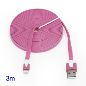3M Two-tone Noodle USB Sync Data Charger Cable iPhone 5 iPad 4 iPad Mini iPod Touch 5 Nano 7 - White / Pink