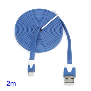 2M Two-color Noodle-Shaped 8 Pin USB Sync Data Charging Cable for iPhone 5 iPad 4 iPad Mini iPod Touch 5 Nano 7 - White / Blue