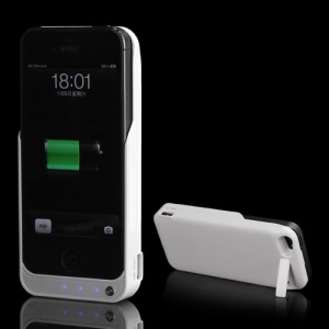 4200mAh Portable External Backup Battery Charger Case Stand for iPhone 5 - White