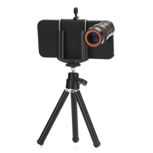 8x Zoom Telescope Lens+ Tripod + Hard Case Optical Camera Lens for iPhone 5