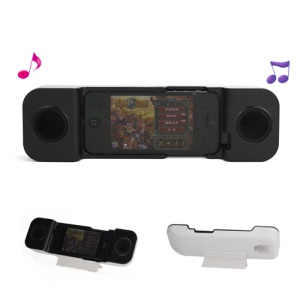 Portable Music Plastic & Silicone Handset Speaker Amplifier with Stand for iPhone 5 - Black / White