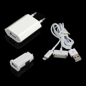 8 Pin &amp;amp; 30 Pin USB Data Cable + Car Charger + Wall Charger Kit Bundle for iPhone iPod iPad Mini - EU Plug