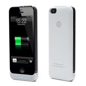 Super Slim 2200mAh Backup Battery External Power Jacket Case for iPhone 5 - White
