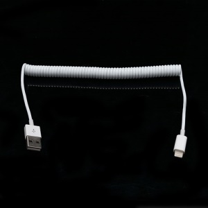 2M Apple iPhone iPad iPod 8 Pin USB Spiral Coiled Charger Sync Data Cable - White