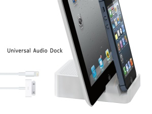 Double Apple 8Pin and 30Pin Charging Universal Audio Dock Station for iPhone 5, iPhone 4 / 4S, iPad Mini, iPod Touch 5
