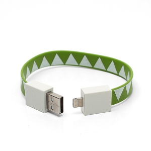 Bracelet 8pin Lightning to USB Data Charging Cable for iPhone 5 iPad iPod - Green / White Triangle