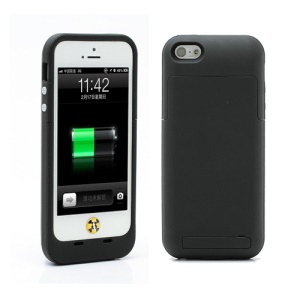 2500mAh Juice Power Pack Backup Battery Case with Stand for iPhone 5 - Black