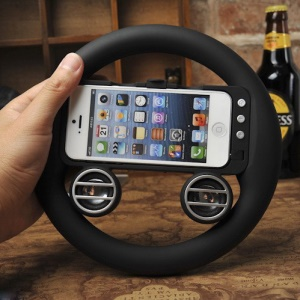 2 in 1 Racing Game Gaming Wheel Controller and Built-in Speaker for iPhone 5 - Black