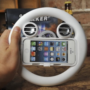 Steering Game Wheel Controller and Built-in Speaker for iPhone 5 - White