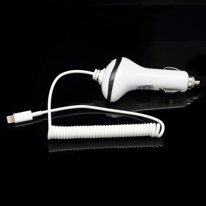 Retractable Cable 8 Pin Lightning Car Charger for iPhone 5 iPad 4 Mini iPod Touch 5 Nano 7