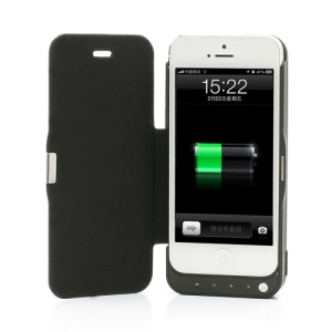 4200mAh External Power Backup Battery Charger Case w/ Folio Leather Cover for iPhone 5 - Black
