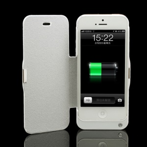 4200mAh Folio Leather Battery Charger Case External Power for iPhone 5 - White