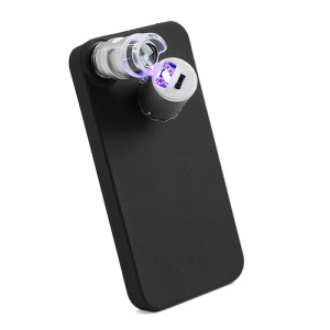 60X Zoom LED Microscope Micro Lens with back Case for iPhone 5