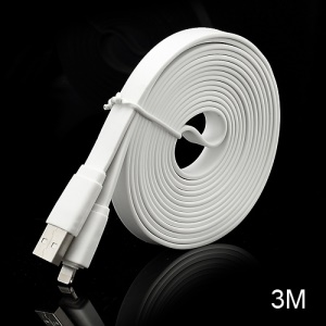 3M Noodle-Shaped 8 Pin USB Data Sync Charge Cable for iPhone 5 / iPad 4 / iPad Mini / iPod Touch 5 Nano 7 - White