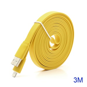 3M Noodle-Shaped 8 Pin USB Data Sync Charge Cable for iPhone 5 / iPad 4 / iPad Mini / iPod Touch 5 Nano 7 - Yellow