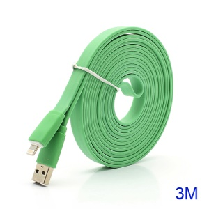 3M Noodle-Shaped 8 Pin USB Data Sync Charge Cable for iPhone 5 / iPad 4 / iPad Mini / iPod Touch 5 Nano 7 - Green