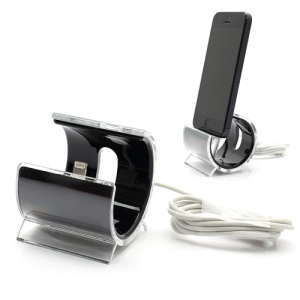 Latest C-Shaped Desktop Stand Sync Dock Cradle with Lightning 8 Pin Cable for iPhone 5 - Black