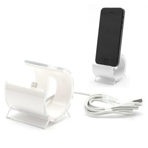 Latest C-Shaped Desktop Stand Sync Dock Cradle with Lightning 8 Pin Cable for iPhone 5 - White