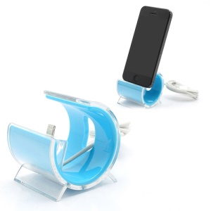 Latest C-Shaped Desktop Stand Sync Dock Cradle with Lightning 8 Pin Cable for iPhone 5 - Blue