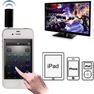 Universal Wireless 3.5mm IR Transmitter Remote Control Adapter for iPhone 5 / 4S / 4 iPad iPod - Black