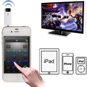 Universal Wireless 3.5mm IR Transmitter Remote Control Adapter for iPhone 5 / 4S / 4 iPad iPod - White