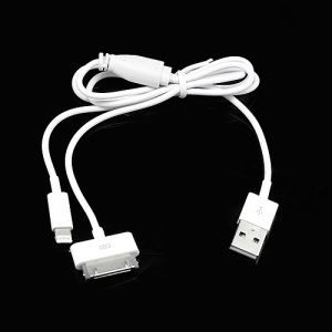 2 in 1 Lightning 8 Pin + 30 Pin Sync Charging USB Cable for iPhone 5 / 4S / 4 iPad Mini / 4 / 3 / 2 iPod