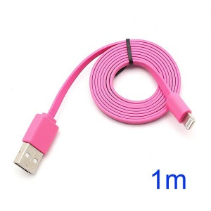 Noodle Style 1M Lightning 8 Pin to USB Data Cable Cord for iPhone 5 iPod Touch 5 iPod Nano 7 iPad Mini - Pink