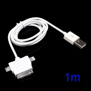 3 in 1 Micro USB + Lightning + 30 Pin Sync Charger USB Cable for iPhone iPad iPod Samsung HTC Sony LG - White