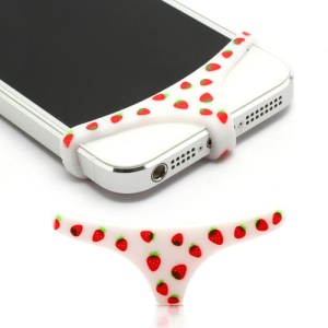 Sexy Mini Panties Silicone Protective Home Buttom Key Cover for iPhone 4 4S 5 - Strawberry Pattern