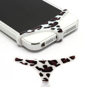 Sexy Mini Panties Silicone Protective Home Buttom Key Cover for iPhone 4 4S 5 - Leopard / White
