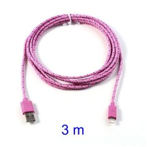 Pink 3M Woven 8pin USB Data Charge Cable for iPhone 5 5s 5c / iPad 4 / iPad Mini / iPod Touch 5 Nano 7