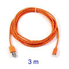 Orange 3M Woven 8pin USB Data Charge Cable for iPhone 5 5s 5c / iPad 4 / iPad Mini / iPod Touch 5 Nano 7