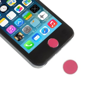 iPhone 5s Button Shaped Aluminum Home Button Sticker for iPhone 5 4S 4 - Rose / Silver