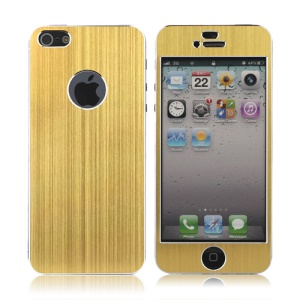 Luxury Brushed Metal Aluminium Full Body Decal Sticker for iPhone 5 - Gold