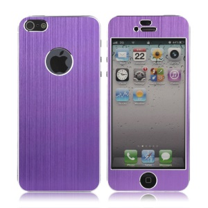 Luxury Brushed Metal Aluminium Full Body Decal Sticker for iPhone 5 - Purple