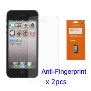 2PCS Anti-Fingerprint LCD Screen Protector Guard Film for iPhone 5