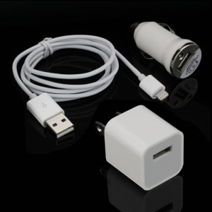 3 in 1 USB Wall &amp; Car Charger + Lightning Cable Travel kit for iPhone 5 iPod Touch 5 iPod Nano 7 iPad Mini - US Plug / White