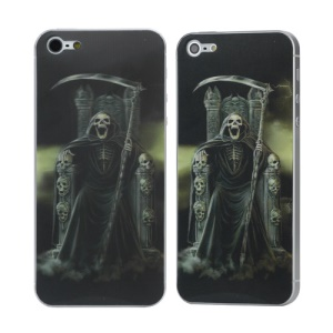 3D Effect Skeleton Holding a Scythe Pattern Back Sticker Skin for iPhone 5