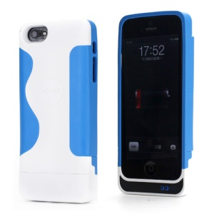 2200mAh PC & Silicone Hybrid External Backup Battery Charger Case for iPhone 5 - White / Blue